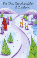 Small Winter Village: Granddaughter (1 card/1 envelope) - Christmas Card