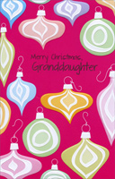 Colorful Embossed Ornaments: Granddaughter (1 card/1 envelope)  Christmas Card