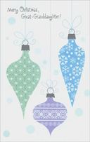 Pastel Ornaments: Great-Granddaughter (1 card/1 envelope)  Christmas Card