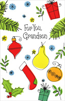 Ornaments, Presents, and Stocking: Grandson (1 card/1 envelope)  Christmas Card