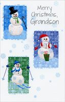 Three Embossed Snowmen: Grandson (1 card/1 envelope) - Christmas Card