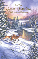 Deer at Stream: Great-Grandson (1 card/1 envelope) - Christmas Card