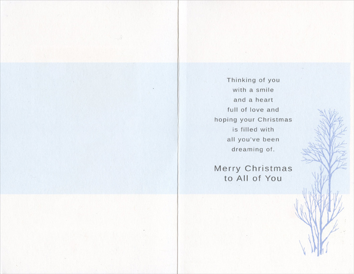 Silver Trees & Stream: Grandson (1 card/1 envelope) Christmas Card - FRONT: To a Special Grandson & His Family  INSIDE: Thinking of you with a smile and a heart full of love and hoping your Christmas is filled with all you've been dreaming of. Merry Christmas to All of You