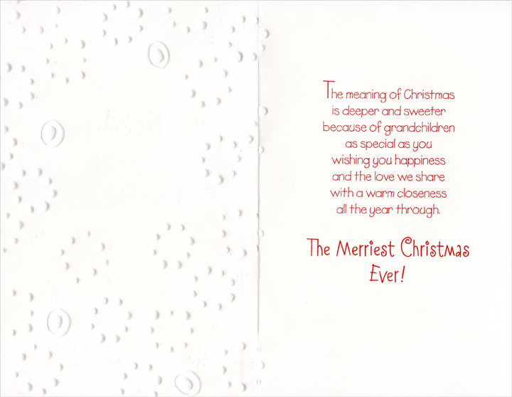 Pastel Embossed Snowflakes: Grandchildren (1 card/1 envelope) Christmas Card - FRONT: For Some Special Grandchildren  INSIDE: The meaning of Christmas is deeper and sweeter because of grandchildren as special as you wishing you happiness and the love we share with a warm closeness all the year through. The Merriest Christmas Ever!