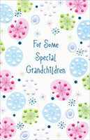 Pastel Embossed Snowflakes: Grandchildren (1 card/1 envelope) - Christmas Card - FRONT: For Some Special Grandchildren  INSIDE: The meaning of Christmas is deeper and sweeter because of grandchildren as special as you wishing you happiness and the love we share with a warm closeness all the year through. The Merriest Christmas Ever!