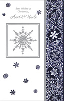 Silver Snowflakes & Vines: Aunt & Uncle (1 card/1 envelope) - Christmas Card