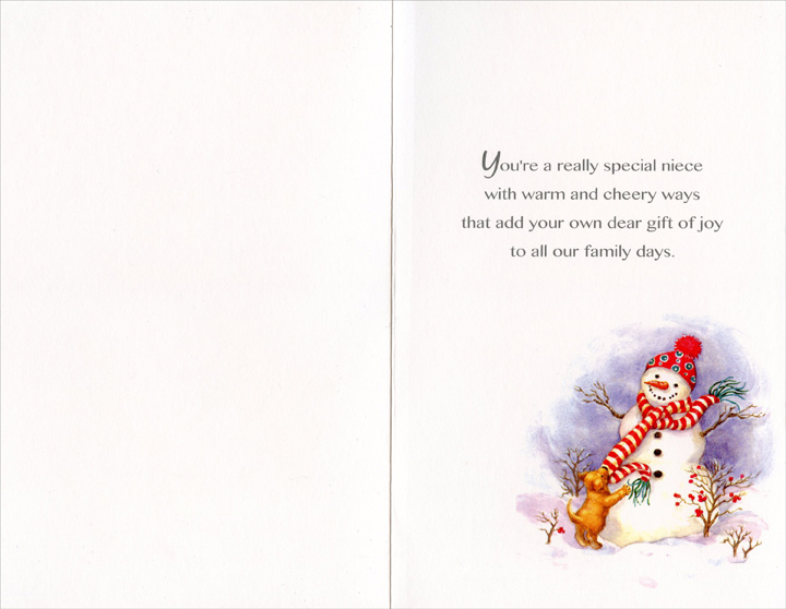 Snowman & Puppy: Niece (1 card/1 envelope) Christmas Card - FRONT: Merry Christmas, to a Special Niece  INSIDE: You're a really special niece with warm and cheery ways that add your own dear gift of joy to all our family days.