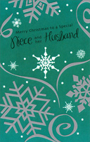 Silver Snowflakes on Green: Niece (1 card/1 envelope) - Christmas Card