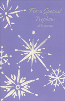 Sliver Snowflakes on Purple: Nephew (1 card/1 envelope)  Christmas Card