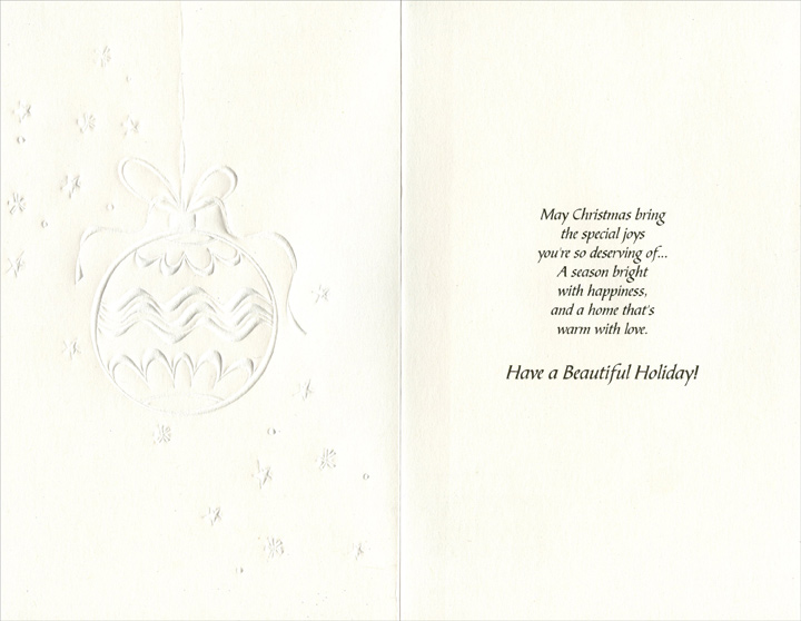 Gold Foil Ornament: Nephew (1 card/1 envelope) Christmas Card - FRONT: For My Nephew and His Wife  INSIDE: May Christmas bring the special joys you're so deserving of� A season bright with happiness, and a home that's warm with love. Have a Beautiful Holiday!