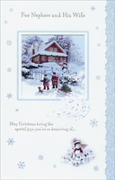 Children and Sled: Nephew (1 card/1 envelope)  Christmas Card