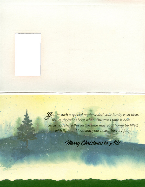 Tree in Diecut Window: Nephew (1 card/1 envelope) - Christmas Card - FRONT: For a Special Nephew and His Family  INSIDE: You're such a special nephew and your family is so dear, You're thought about when Christmas time is here� So as you share this festive time may your home be filled with light and love and your hearts be very jolly. Merry Christmas to All!