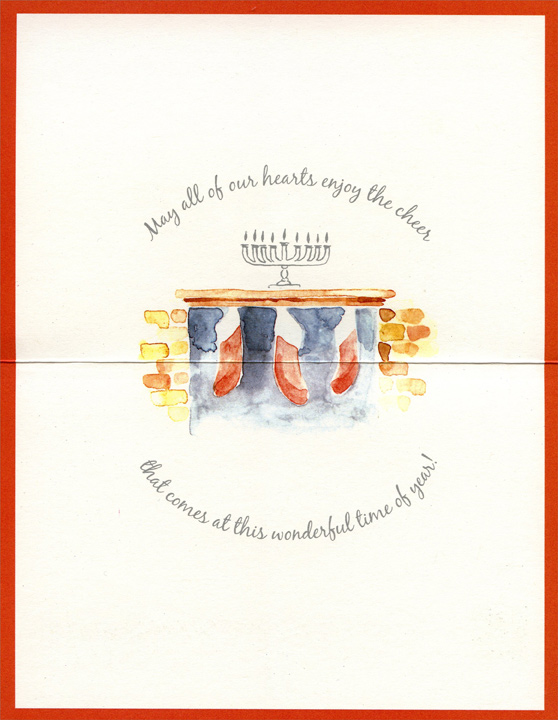 Menorah & Stockings (1 card/1 envelope) Christmas Card - FRONT: Once the menorah is lit and all the stockings are hung�  INSIDE: May all of our hearts enjoy the cheer that comes at this wonderful time of year!