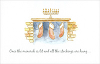 Menorah & Stockings (1 card/1 envelope)  Christmas Card