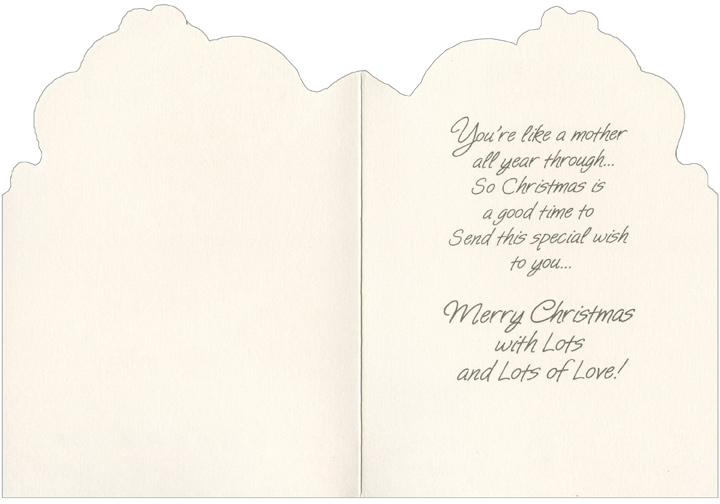 Bear on Couch: Like a Mother (1 card/1 envelope) Christmas Card - FRONT: To Someone Who's Just like a Mother  INSIDE: You're like a mother all year through� So Christmas is a good time to Send this special wish to you� Merry Christmas with Lots and Lots of Love!