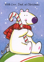 Bear with Candy Cane: Father (1 card/1 envelope)  Christmas Card