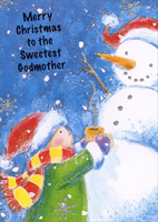 Hot Cocoa Snowmen Godmother (1 card/1 envelope)  Christmas Card