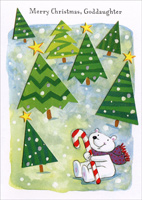 Bear & Candy Cane: Goddaughter (1 card/1 envelope) - Christmas Card - FRONT: Merry Christmas, Goddaughter  INSIDE: Wishing you the kind of Christmas you've been dreaming of, filled with fun and laughter, peace, joy, and love� The kind of Christmas you deserve� a holiday that will be filled with the kind of happiness that will warm each memory. Merry Christmas!