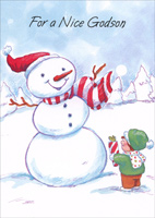 Snowman & Boy: Godson (1 card/1 envelope) - Christmas Card