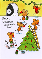 Mice Decorating Tree: Niece (1 card/1 envelope)  Christmas Card