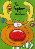 Reindeer Glitter Nose: Nephew (1 card/1 envelope) - Christmas Card