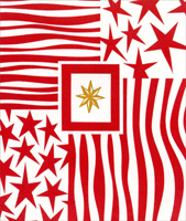 Gold Star with Stars & Stripes (1 card/1 envelope) - Christmas Card