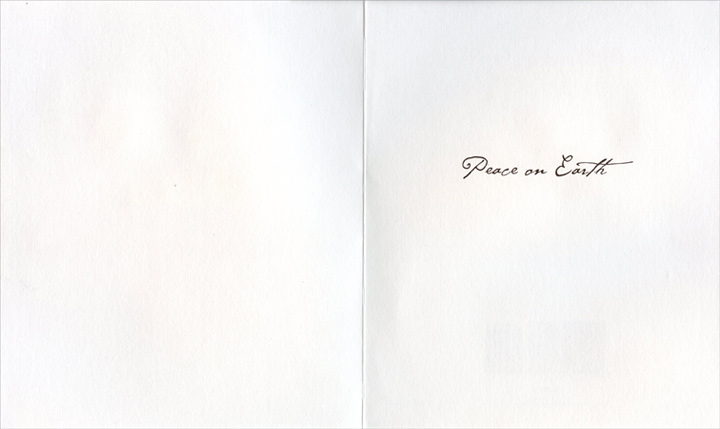 Dove on White (1 card/1 envelope) - Christmas Card  INSIDE: Peace on Earth