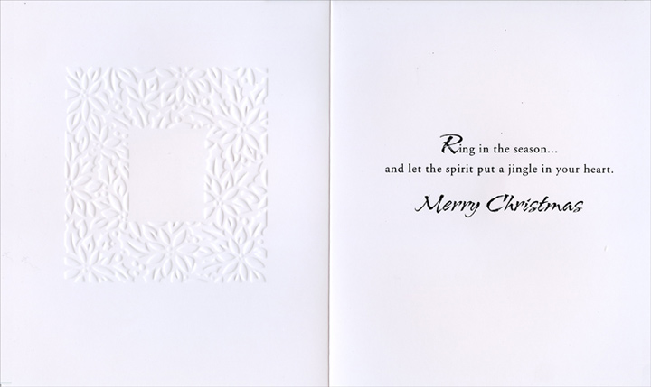Bell on White Embossed (1 card/1 envelope) Christmas Card  INSIDE: Ring in the season� and let the spirit put a jingle in your heart. Merry Christmas