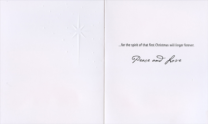One Star (1 card/1 envelope) Christmas Card - FRONT: One star shines brighter than all the rest�  INSIDE: �for the spirit of that first Christmas will linger forever. Peace and Love