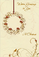 Gold & Red Wreath (1 card/1 envelope) - Christmas Card