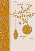 Foil Ornaments on Branch: Sister (1 card/1 envelope)  Christmas Card