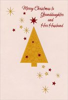 Gold Tree with Red Stars: Granddaughter (1 card/1 envelope)  Christmas Card