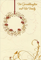 Gold & Red Foil Wreath: Granddaughter (1 card/1 envelope) - Christmas Card