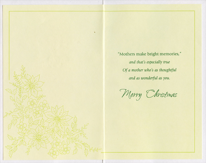 Gold Foil Poinsettia: Mother (1 card/1 envelope) Christmas Card - FRONT: For Mother with Love at Christmas  INSIDE: Mothers make bright memories, and that's especially true Of a mother who's as thoughtful and as wonderful as you. Merry Christmas