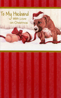 Puppy & Ribbon: Husband (1 card/1 envelope)  Christmas Card