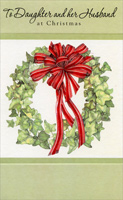 Wreath with Red Ribbon: Daughter (1 card/1 envelope) - Christmas Card