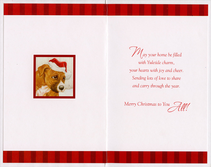 Puppy & Ribbon: Son (1 card/1 envelope) Christmas Card - FRONT: A Christmas Wish for a Wonderful Son and his Family  INSIDE: May your home be filled with Yuletide charm, your hearts with joy and cheer. Sending lots of love to share and carry through the year. Merry Christmas to You All!