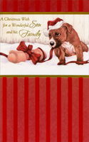 Puppy & Ribbon: Son (1 card/1 envelope) - Christmas Card