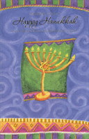 Menorah on Green and Purple (1 card/1 envelope) - Hannukah Card - FRONT: Wishing you a Happy Hanukkah in a beautiful season of light  INSIDE: Spinning dreidels, luscious latkes, candles burning bright�  Sending joyous Hanukkah wishes for each and every night!  Happy Hanukkah