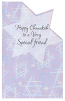Die Cut Stars with Glitter: Friend (1 card/1 envelope) - Hannukah Card - FRONT: Happy Chanukah to a Very Special friend  INSIDE: There's a special light between us and at Chanukah, it's brighter. Wishing you happiness, my special friend. You make the whole year brighter!  Happy Chanukah