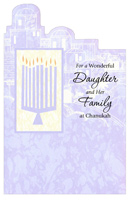 Die Cut Town on Light Purple: Daughter (1 card/1 envelope) - Hannukah Card - FRONT: For a Wonderful Daughter and Her Family at Chanukah  INSIDE: One every night of Chanukah the menorah will glow brighter and with candles falling lower our hearts will grow much lighter. For we also count the blessings of those we hold so dear. Our family is truly blessed with your shining love all year.  Happy Chanukah, With Love