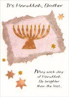 Menorah with Gold Foil Flames: Brother (1 card/1 envelope) Freedom Greetings Hannukah Card
