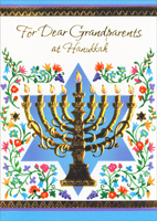 Gold Foil Menorah: Grandparents (1 card/1 envelope) Freedom Greetings Hannukah Card