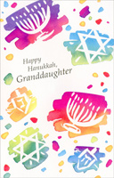 Color Splash Menorahs, Stars & Dreidels: Granddaughter (1 card/1 envelope) Freedom Greetings Hannukah Card