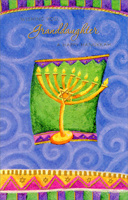 Menorah on Green and Purple: Granddaughter (1 card/1 envelope) Freedom Greetings Hannukah Card
