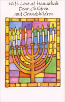 Menorah and Stained Glass: Children (1 card/1 envelope) Freedom Greetings Hannukah Card