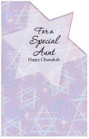 Die Cut Stars with Glitter: Aunt (1 card/1 envelope) - Hannukah Card - FRONT: For a Special Aunt Happy Chanukah  INSIDE: Wishing you a wonderful Chanukah� because no aunt is more wonderful than you!