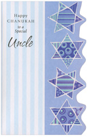 Four Stars with Die Cut Edge: Uncle (1 card/1 envelope) - Hannukah Card - FRONT: Happy Chanukah to a Special Uncle  INSIDE: When I see a stack of latkes and kids spinning dreidels, too, I know it's time for Chanukah and I always think of you.  Happy Chanukah, Uncle, with Love