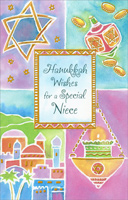 Star & Dreidel Quadrants: Niece (1 card/1 envelope) Freedom Greetings Hannukah Card