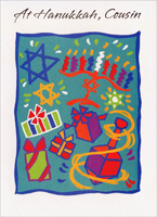 Hanukkah Images on Blue: Cousin (1 card/1 envelope) - Hannukah Card - FRONT: At Hanukkah, Cousin  INSIDE: Special wishes by the dozen for a very special cousin because you deserve a happy holiday!  Happy Hanukkah. Happiness Always